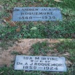 Markers for Andrew J. Roquemore (1860-1930) and Ida M. Irvine (1859-1924), Forest Park Cemetery, Shreveport LA, 9/22/02