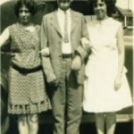 Annie Bess (left) and Edres Amy (right) with their father, Thomas Franklin Roquemore, circa 1930s