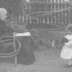 Sara Jane Edwards (1829 - 1905), wife of John Jacob Roquemore, with unknown grandchild.  Date unknown.