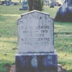 Dual headstone for Thomas Jefferson Roquemore II (1842-1915) and Nancy Clementine Lacey (1842-1926), Oak Grove Cemetery, Nacogdoches TX, 10/22/01